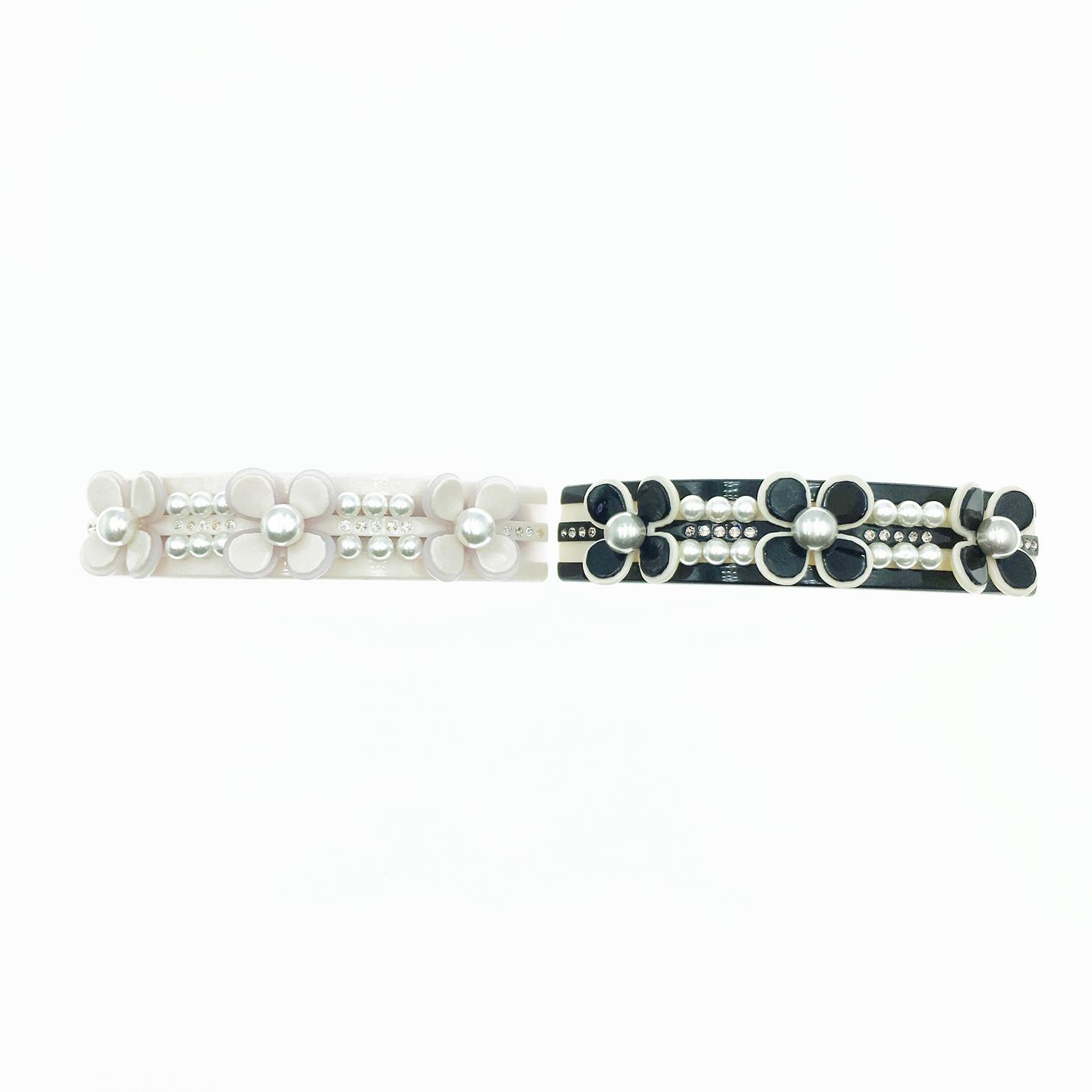 韓國 花 珍珠 水鑽 2色 髮夾 自動夾 採用施華洛世奇水晶元素 Crystals from Swarovski