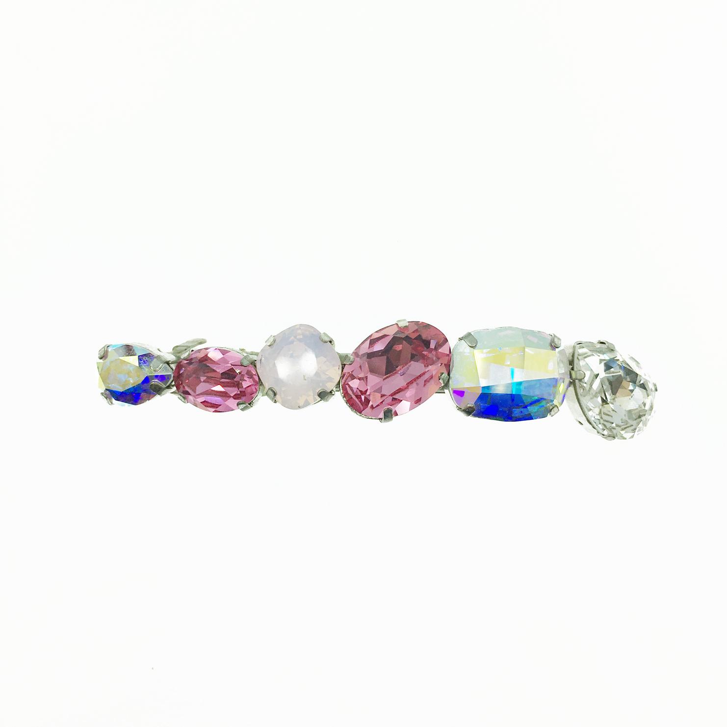 韓國 水鑽水晶 粉白鑽 甜美風 髮夾 自動夾 採用施華洛世奇水晶元素 Crystals from Swarovski