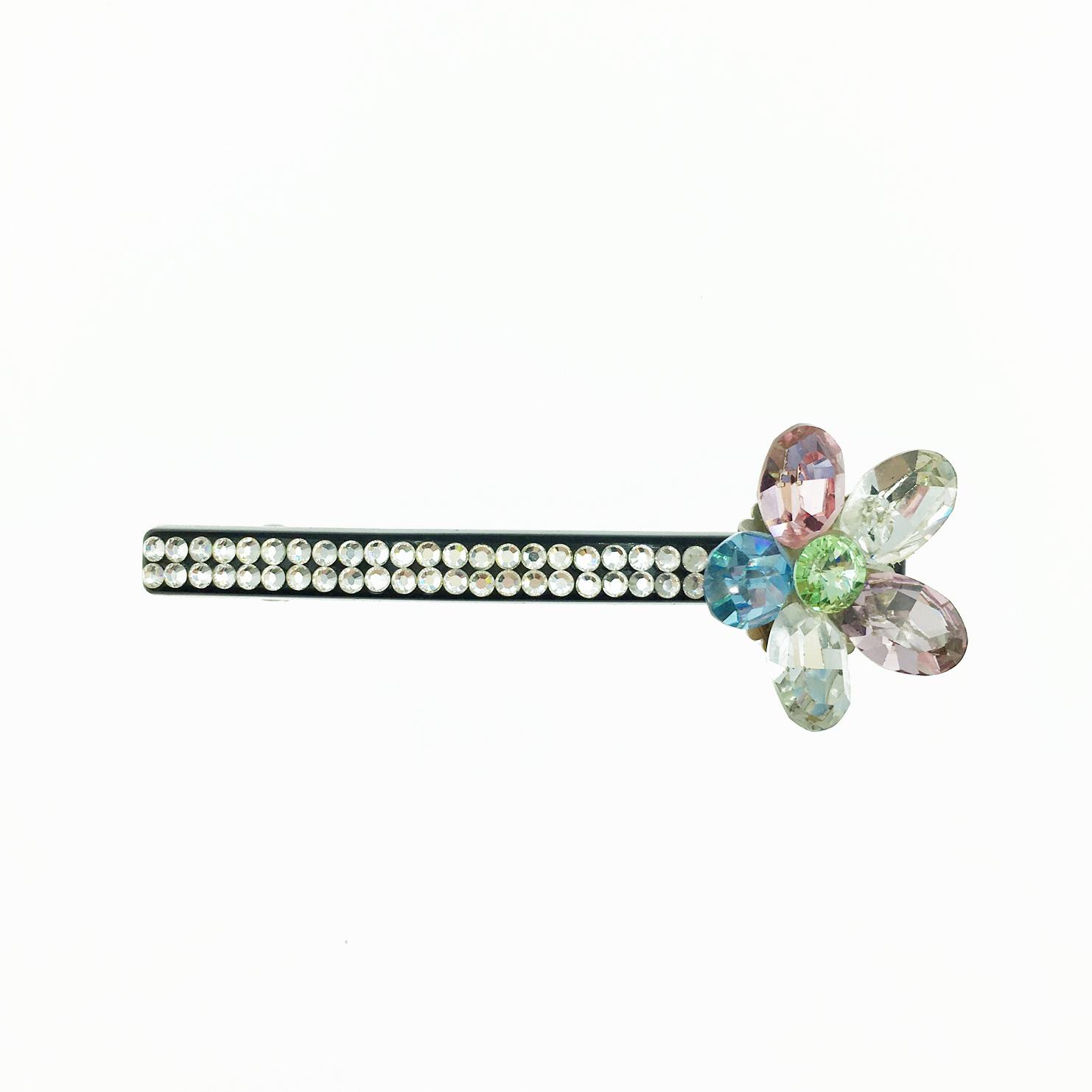 韓國 水鑽花 彩鑽 白排鑽 髮夾 自動夾 採用施華洛世奇水晶元素 Crystals from Swarovski