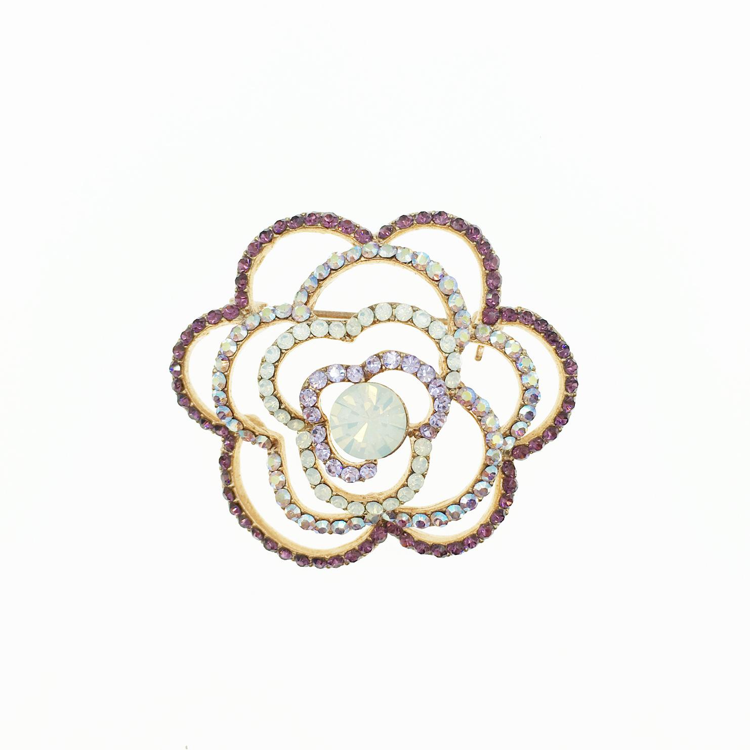 簍空造型 花 水鑽水晶 別針 胸針 採用施華洛世奇水晶元素 Crystals from Swarovski