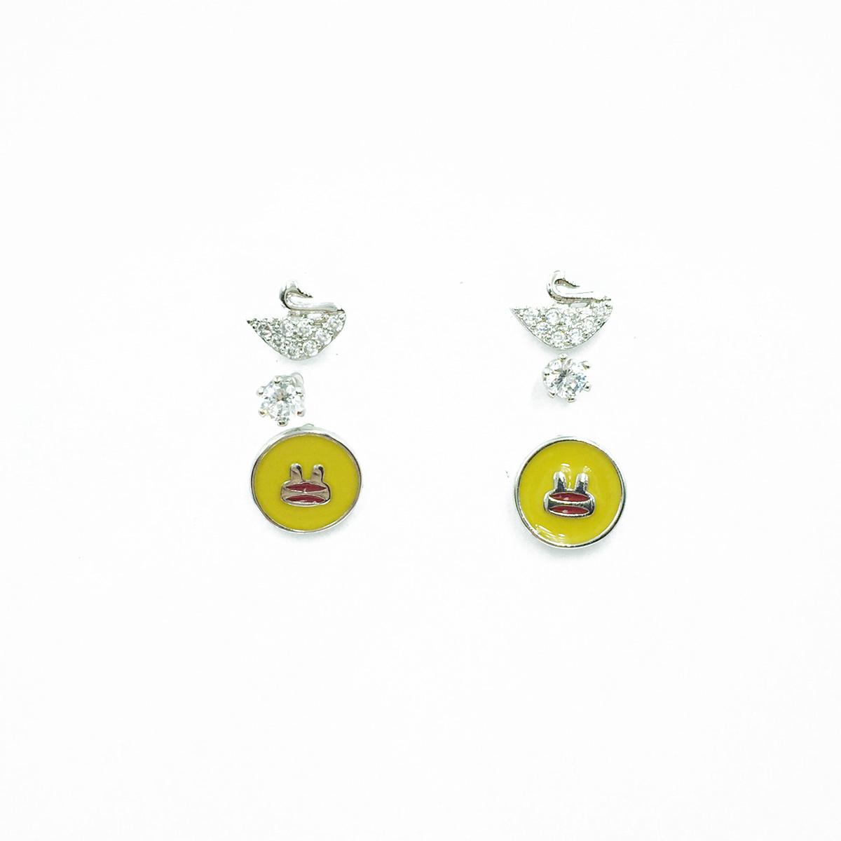 韓國 925純銀 單鑽 天鵝水鑽 黃色小鴨臉 三對組 精緻耳針式耳環
