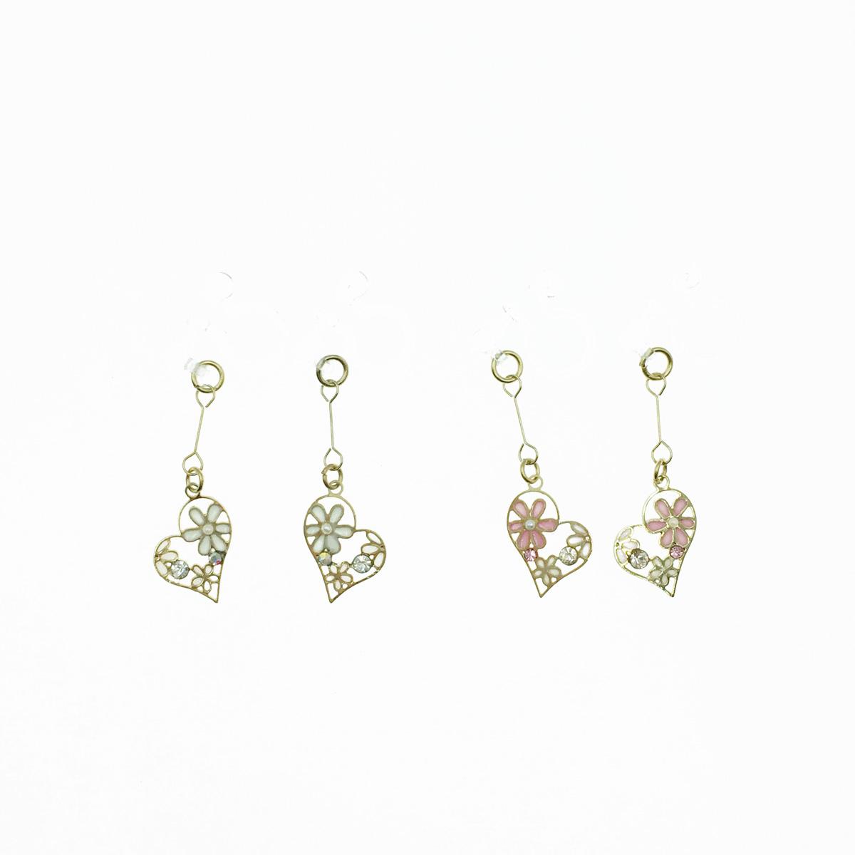 韓國 愛心 簍空 水鑽 小花 珍珠 甜美款 2色 垂墜感 夾式耳環