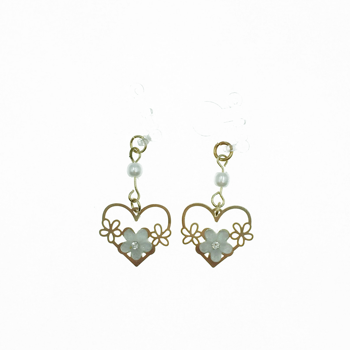 韓國 簍空愛心 花 水鑽小白花 珍珠 可愛甜美 垂墜感 夾式耳環