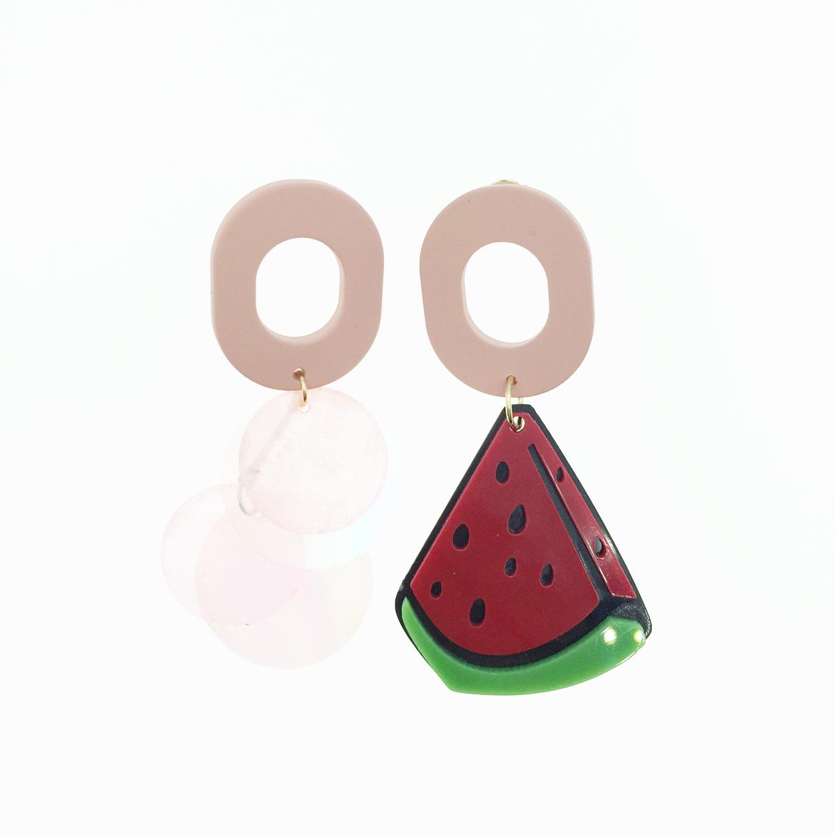 韓國 925純銀 西瓜 水果 不對稱 透明亮片 簍空造型 耳針式耳環