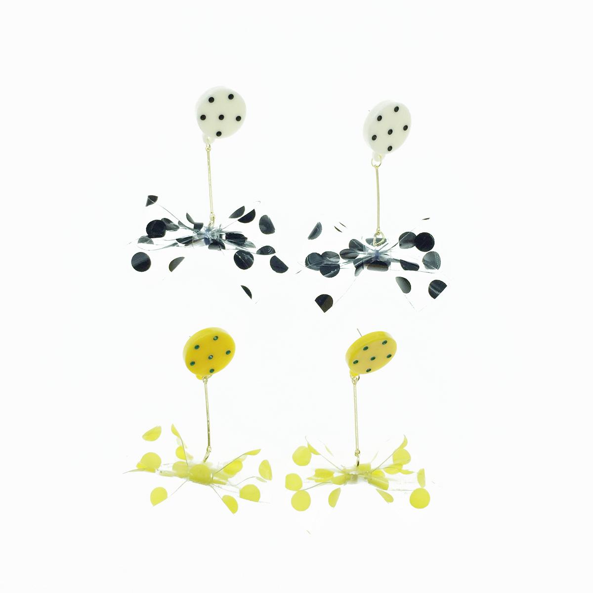 韓國 925純銀 蝴蝶結 透明設計 可愛圓點點 2色 垂墜感 耳針式耳環