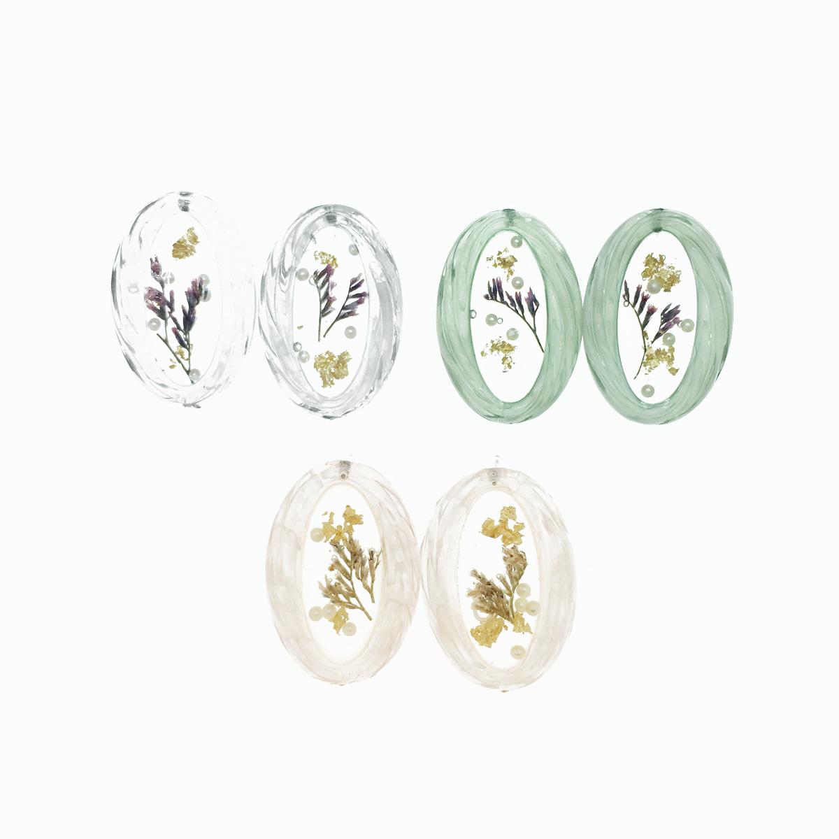 韓國 橢圓 透明夾層 乾燥花 珍珠 類金箔片 氣質款 3色 耳針式耳環