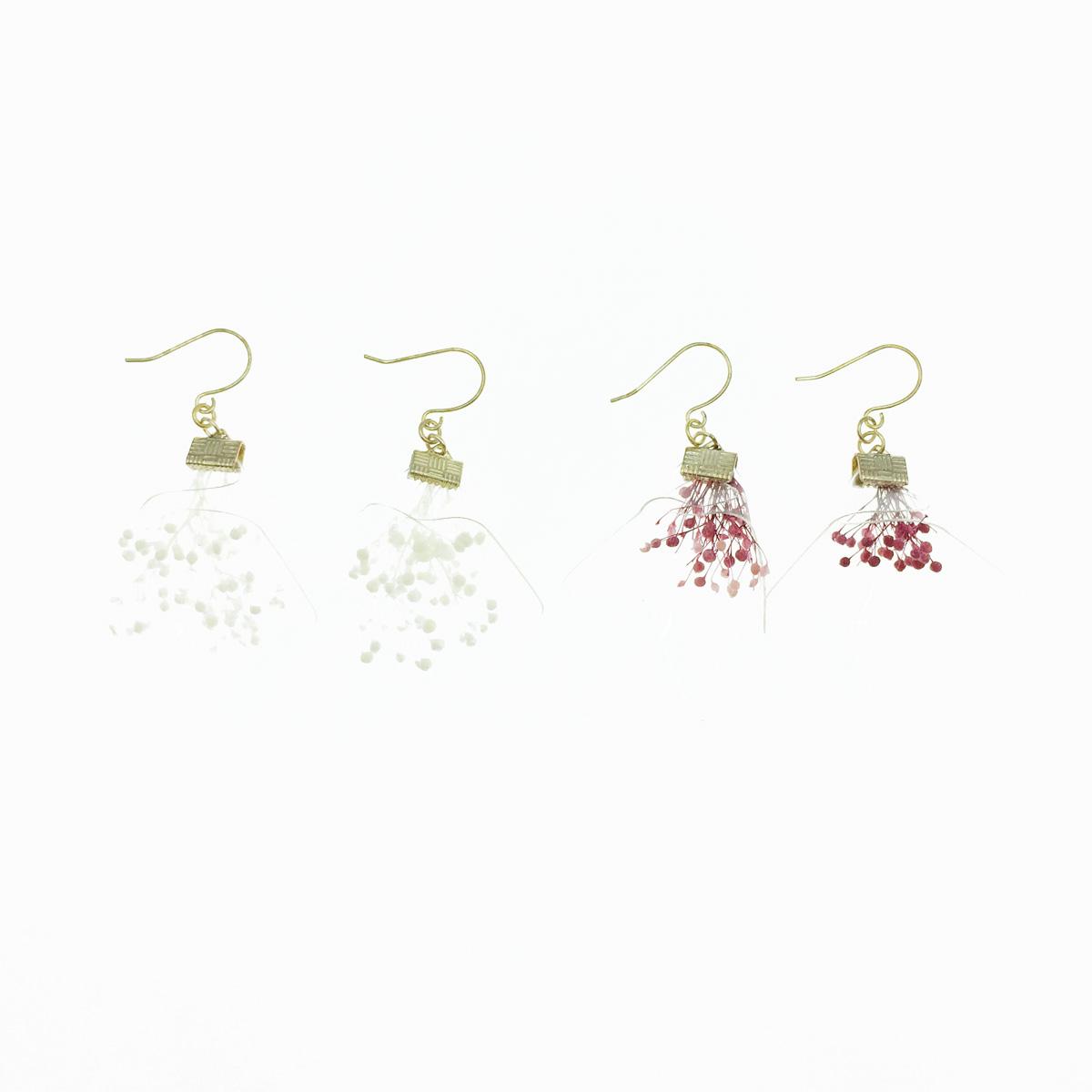 韓國 透明感 乾操花 氣質甜美 2色 垂墜感 耳勾式耳環