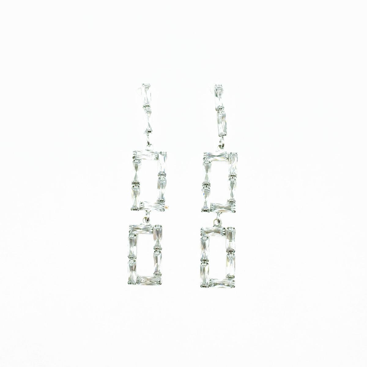 韓國 925純銀 簍空長方形 水鑽 簡約 垂墜感 耳針式耳環