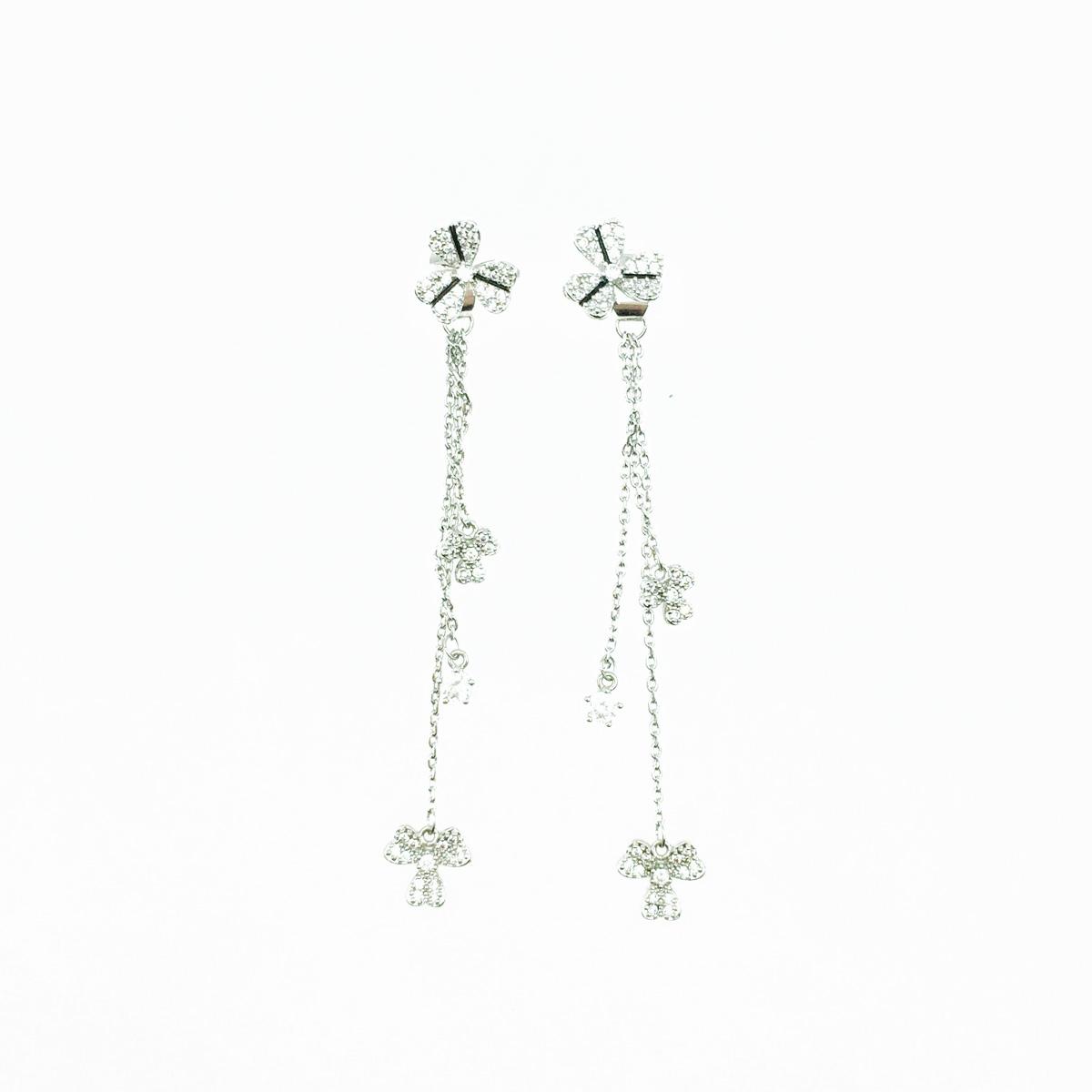 韓國 925純銀 幸運草造型 愛心葉子 水鑽 垂墜感 耳針式耳環