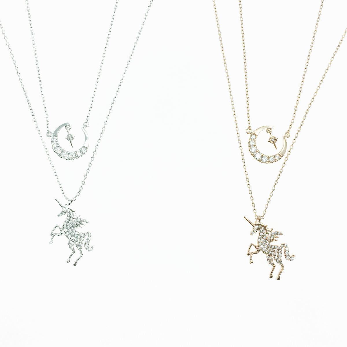 韓國 925純銀 水鑽飛馬 馬蹄造型 2色 銀 玫瑰金 雙入組 質感項鍊