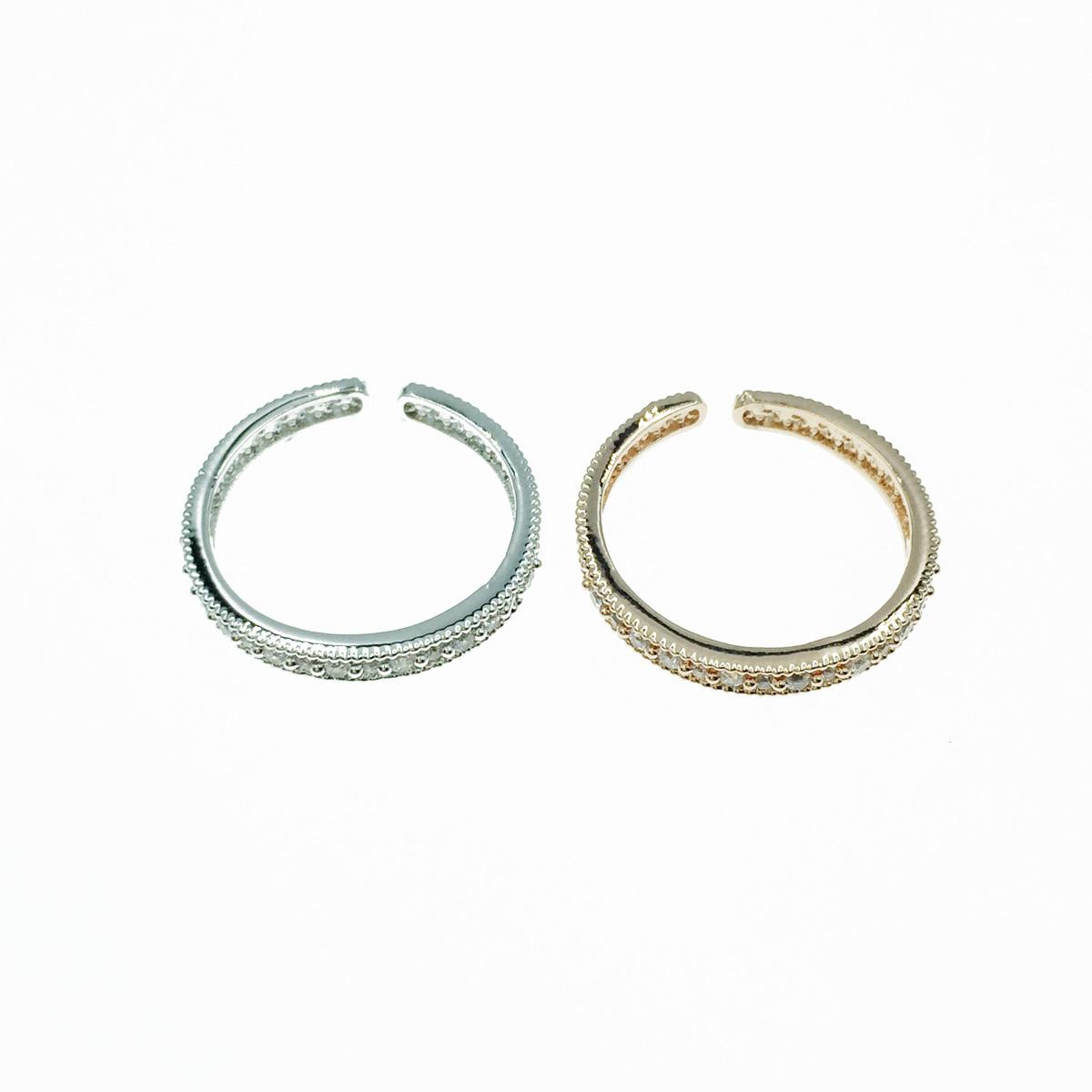韓國 簍空 夾心水鑽 開口可調 銀 玫瑰金 2色 質感 手飾 戒指