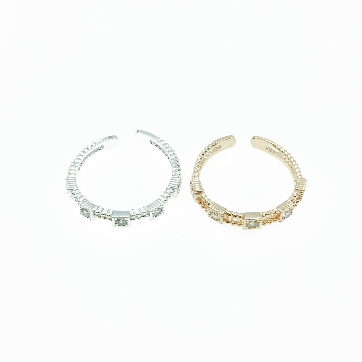 韓國 方形水鑽 簍空設計 開口可調 銀 玫瑰金 2色 質感 手飾 戒指