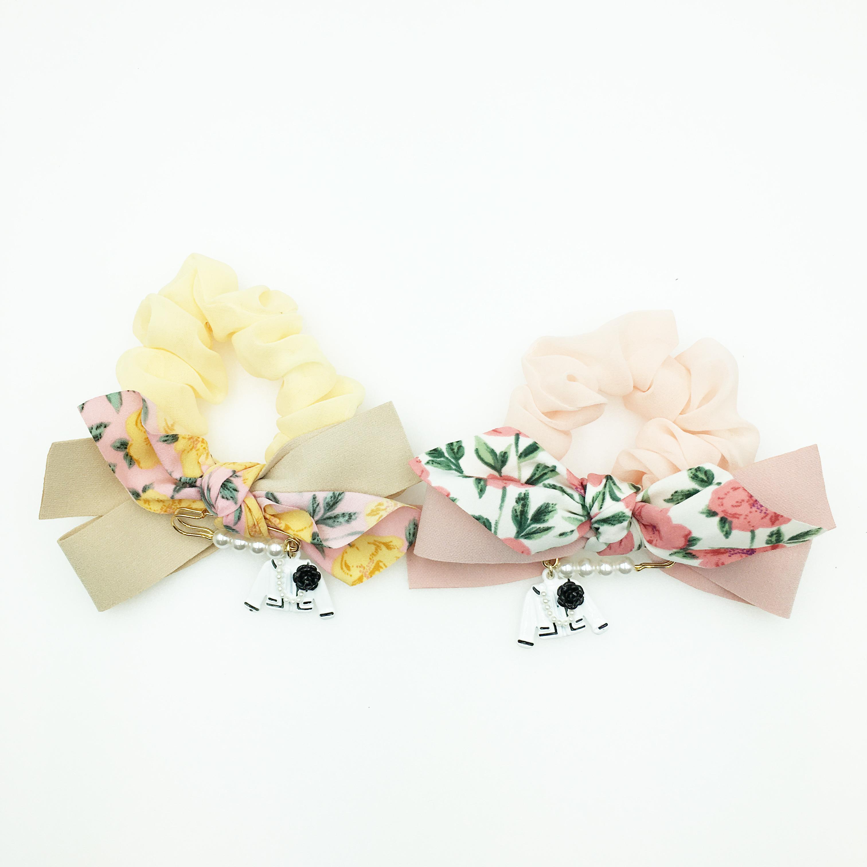 韓國 小香風 山茶花外套 珍珠 迴紋針 花 蝴蝶結 透紗 2色 髮圈 大腸圈