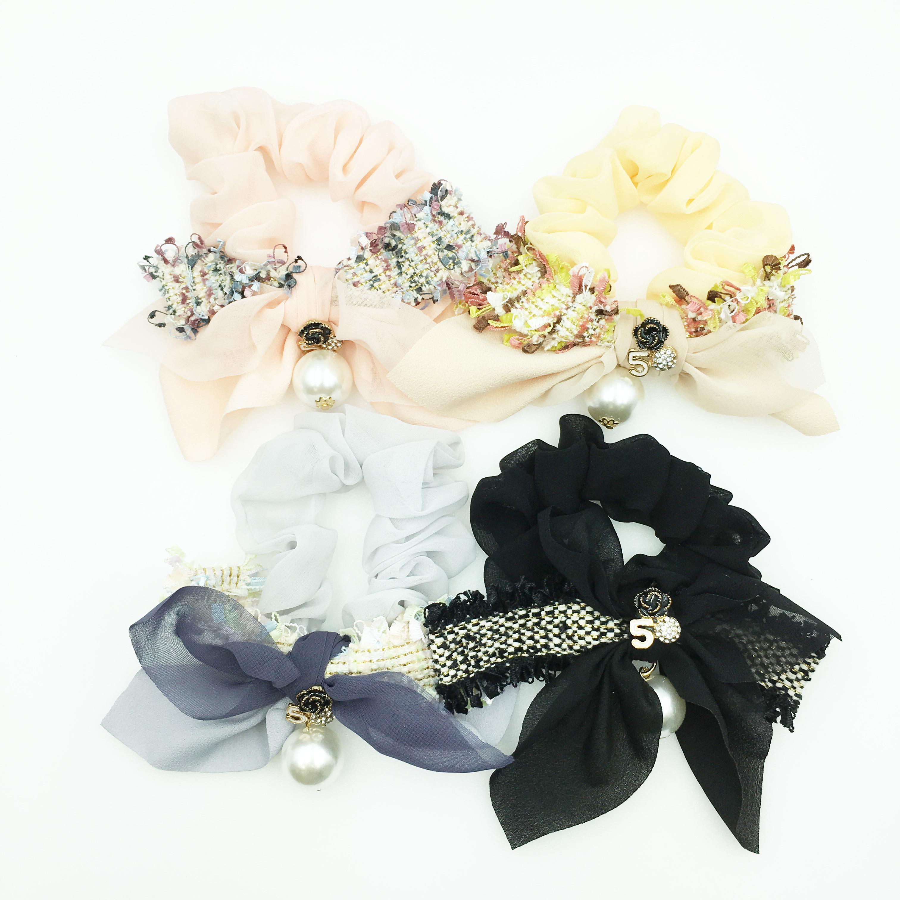 韓國 小香風 編織蝴蝶結 山茶花 水鑽 數字5 垂墜珍珠 透紗 4色 髮圈 大腸圈