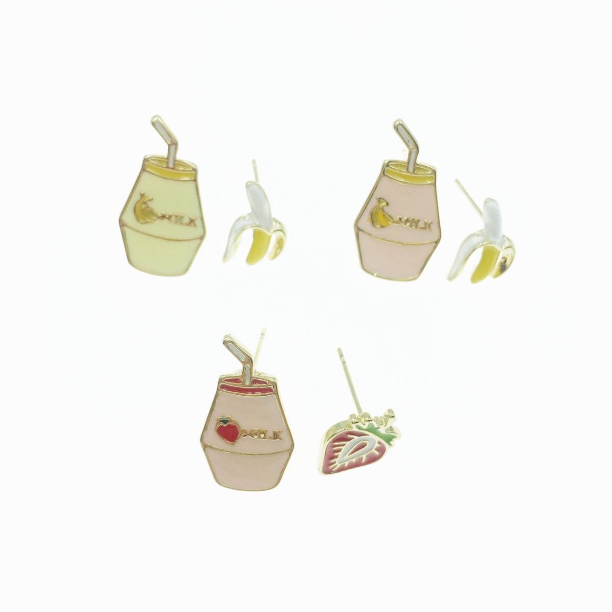 韓國 925純銀 牛奶 香蕉 草莓 可愛趣味 3款 耳針式耳環