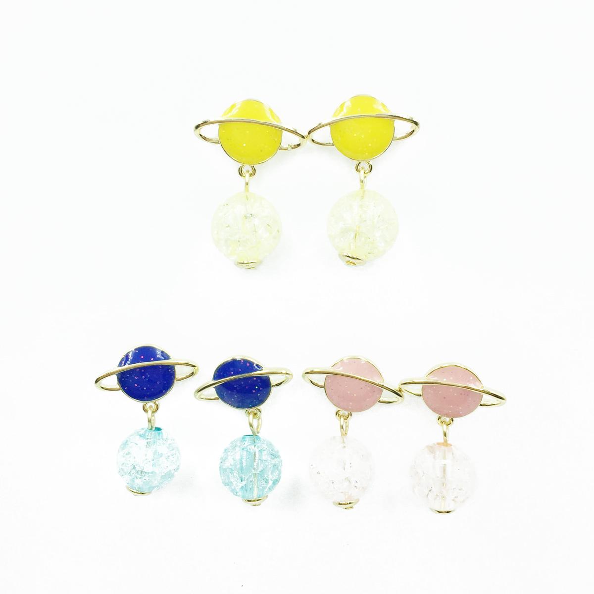 韓國 925純銀 星球 行星 透色球體 金蔥 金邊 3色 垂墜感 耳針式耳環