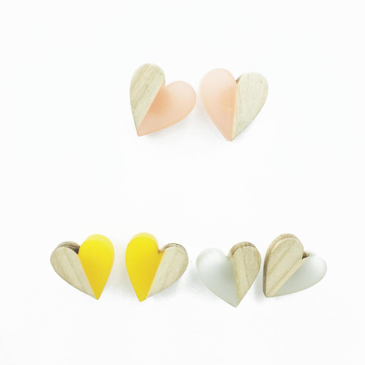 韓國 925純銀 愛心 木頭 小清新 拼接 撞色 3色 耳針式耳環