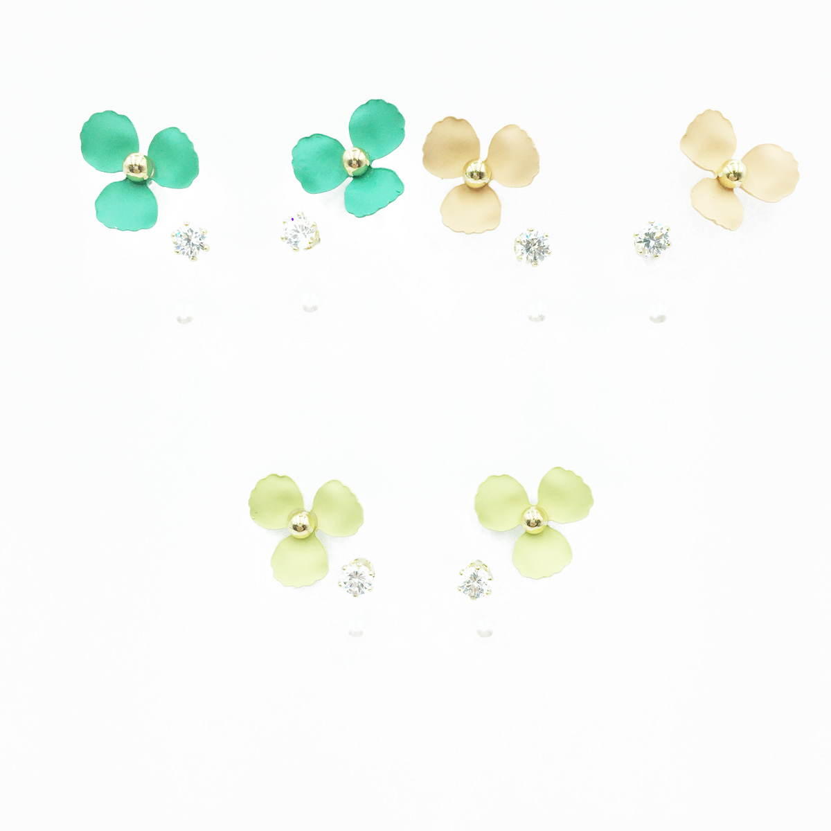 韓國 925純銀 花 小金珠 水鑽 單鑽 珍珠 三對組 3色 耳針式耳環