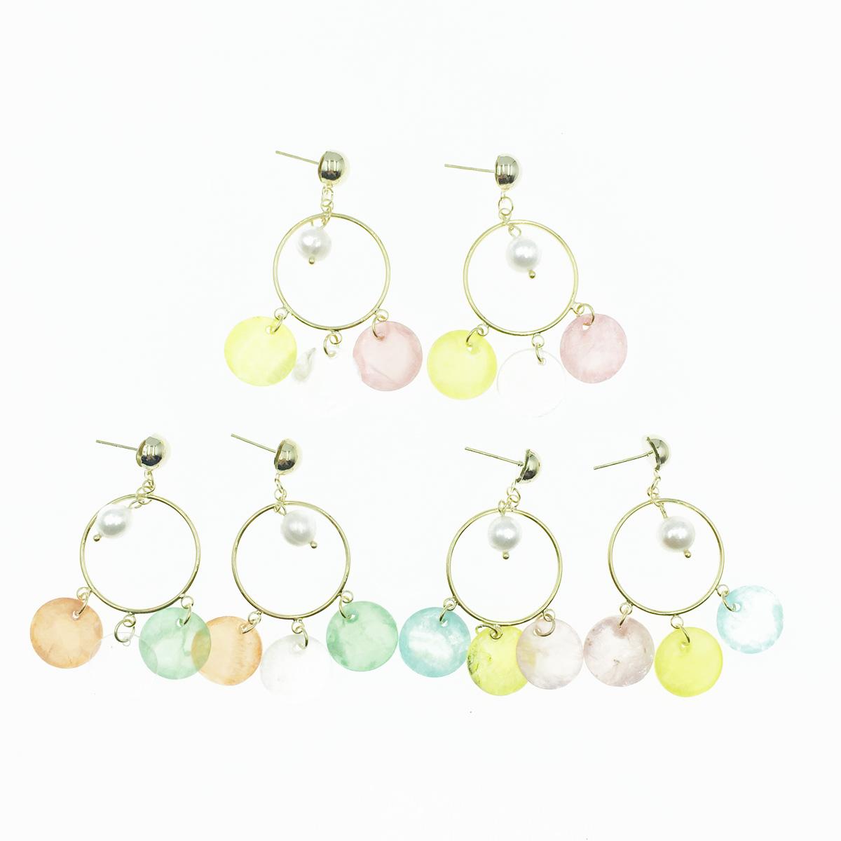 韓國 925純銀 簍空圓圈 珍珠 透明感薄片 3色 垂墜感 耳針式耳環