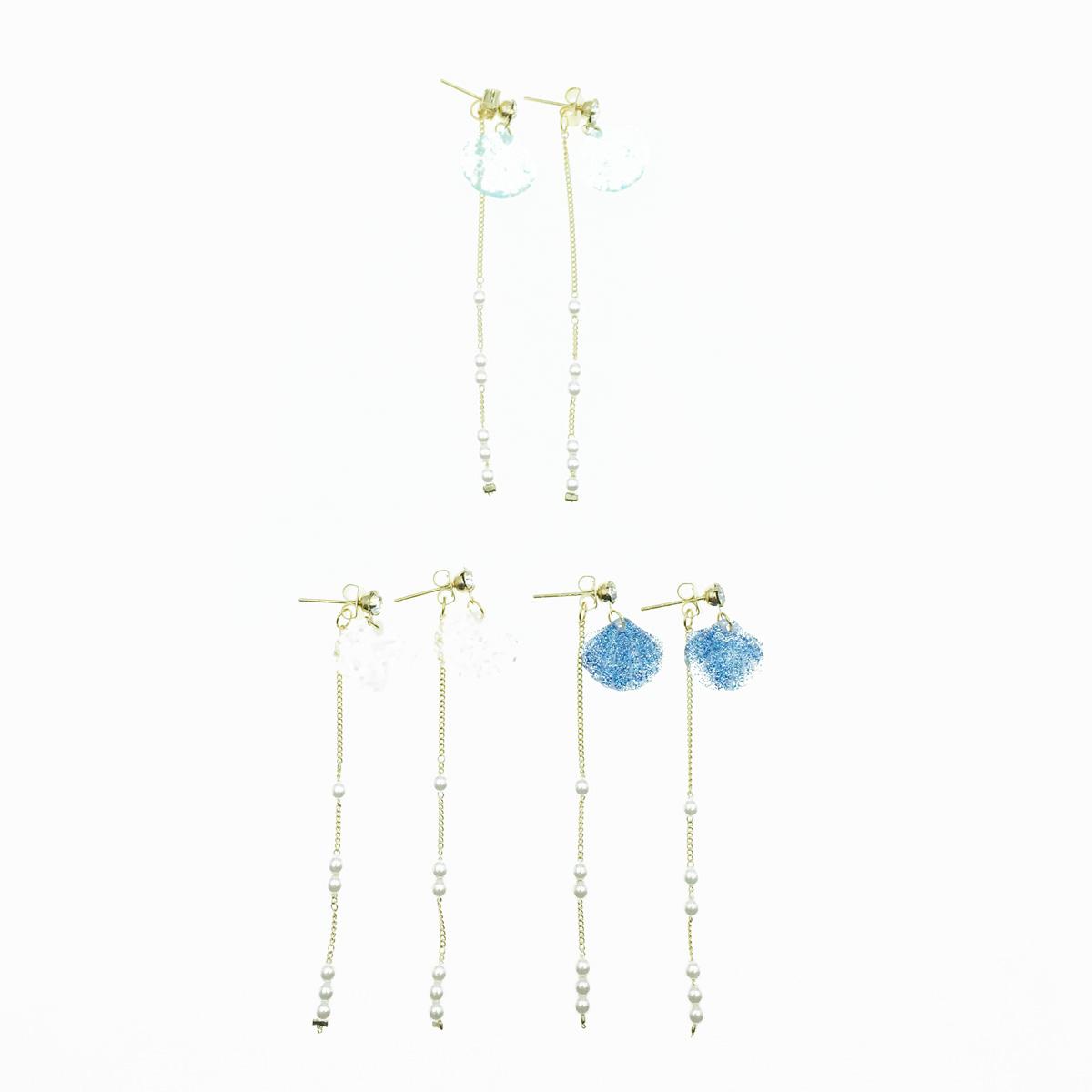 韓國 925純銀 貝殼 水鑽 金蔥 珍珠 海洋風 3色 垂墜感 耳針式耳環