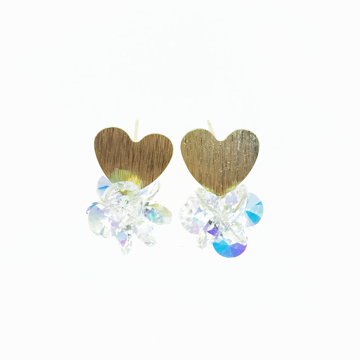 韓國 925純銀 金色愛心 白彩水晶 耳針式耳環