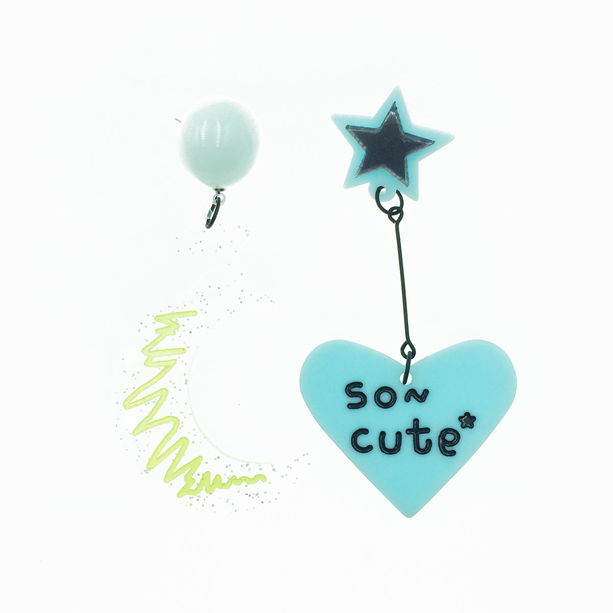 韓國 925純銀 不對稱 透明月亮 星星 塗鴉 愛心 馬卡龍色 垂墜感 耳針式耳環