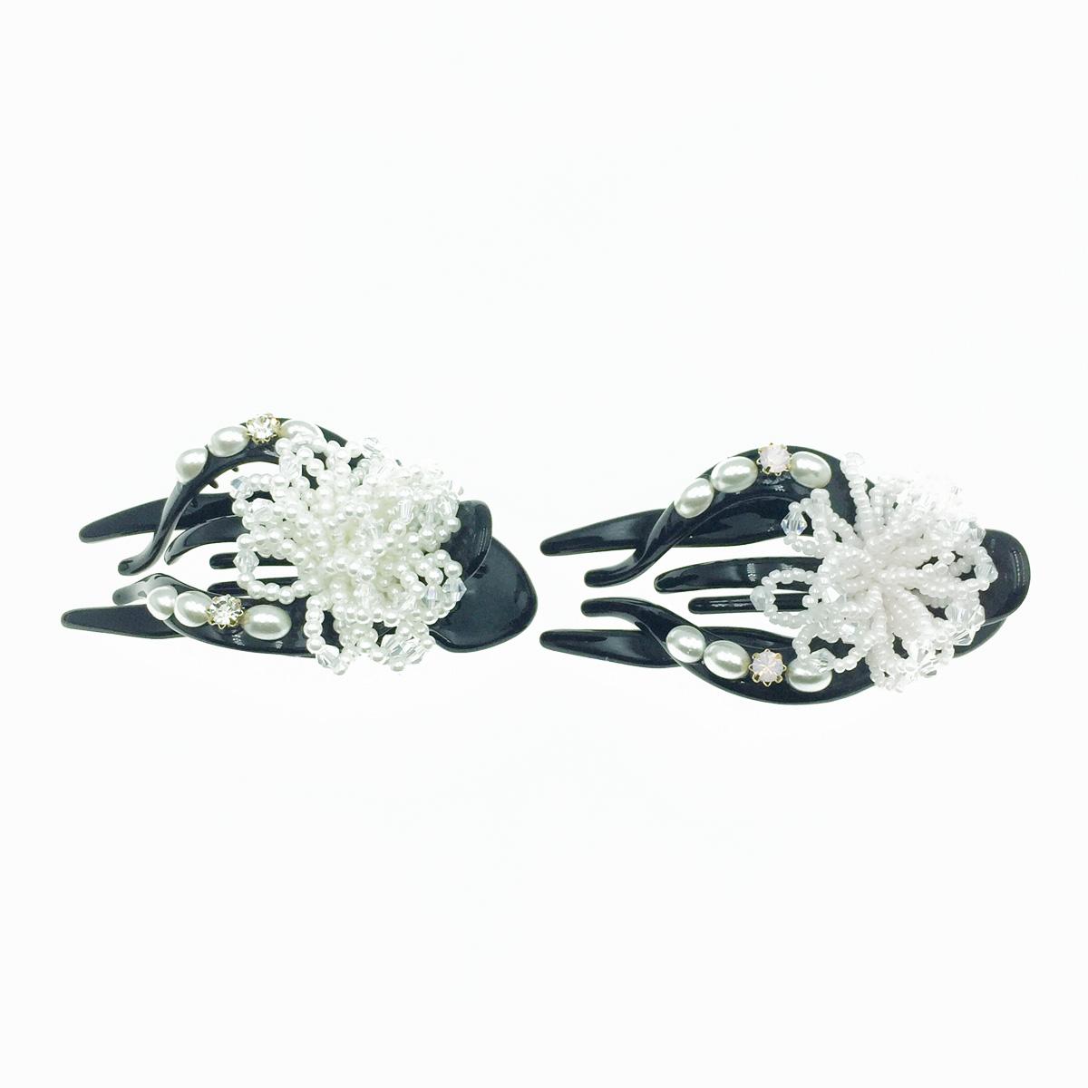 韓國 小圓珠 透明水晶 珍珠 花造型 2色 髮飾 壓夾 髮夾