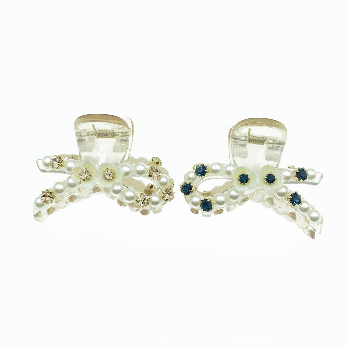 韓國 透明感 蝴蝶結 水鑽 珍珠 花 2色 髮飾 爪夾 髮夾