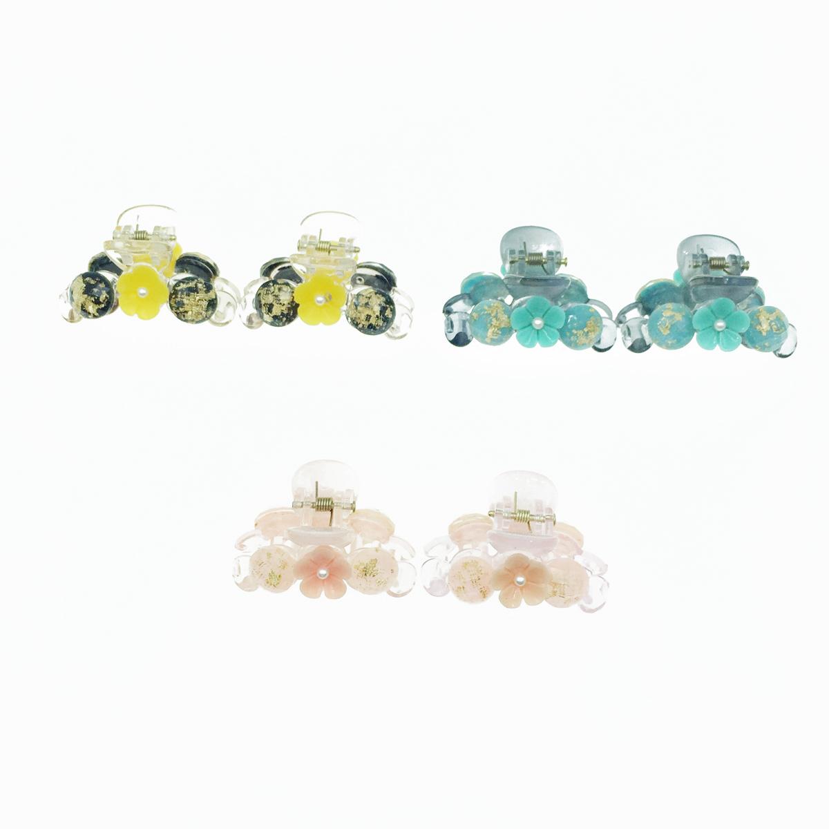 韓國 珍珠花 透明感 金箔夾心 兩入組 3色 髮飾 爪夾 髮夾