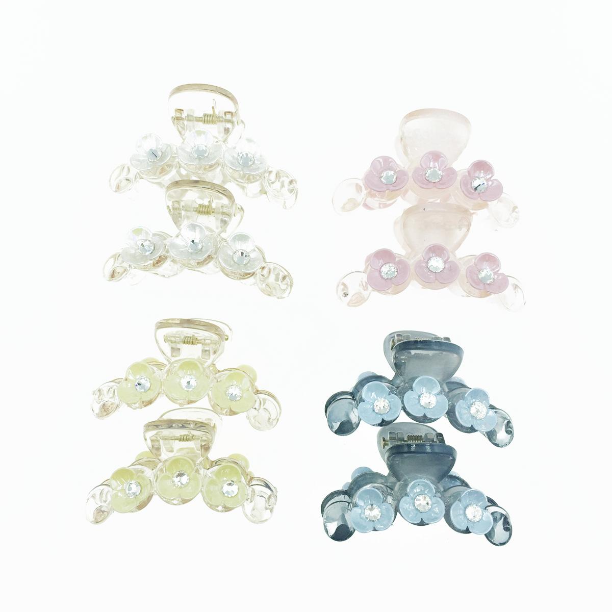 韓國 透明感 小花朵 水鑽 兩入組 4色 髮飾 爪夾 髮夾