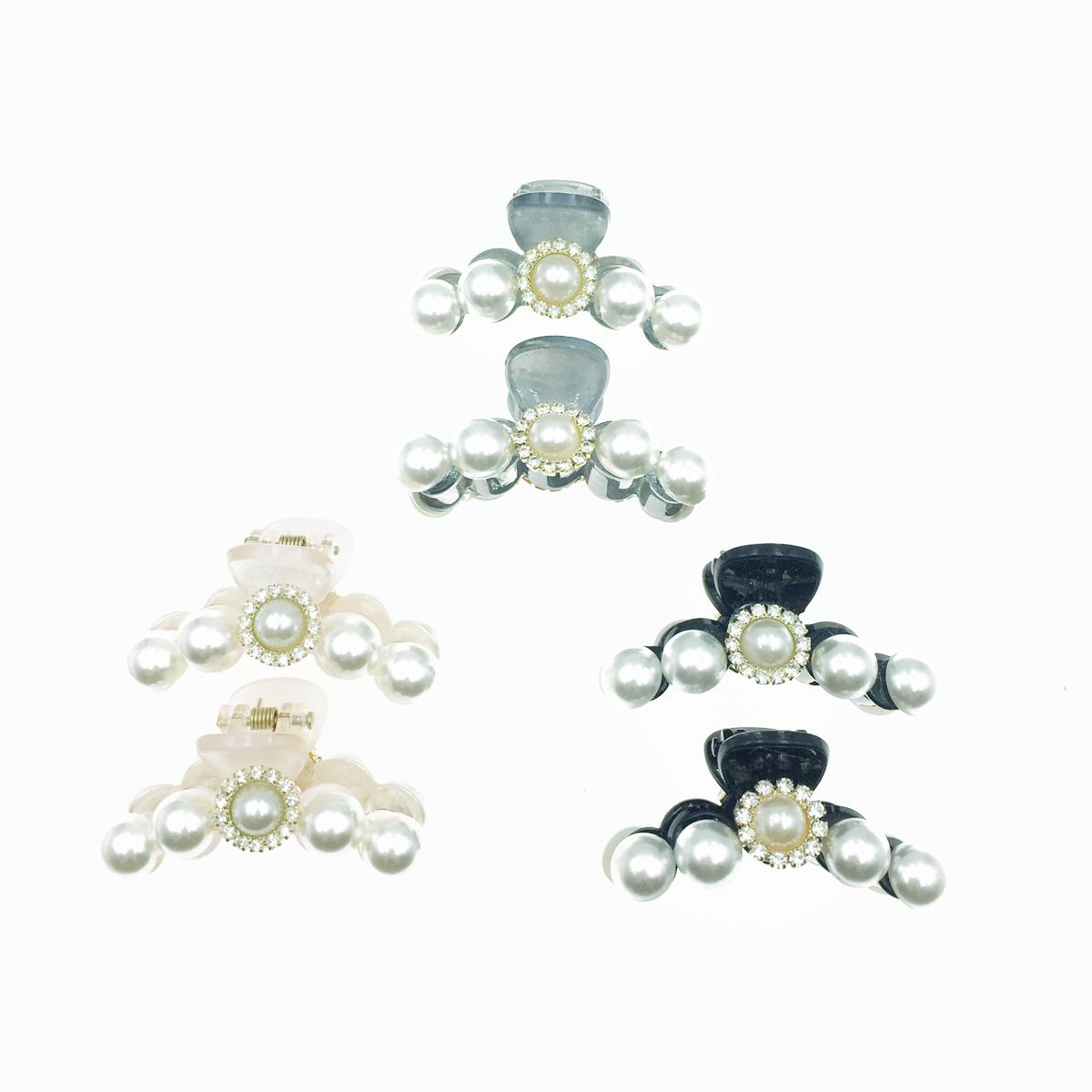 韓國 珍珠造型 水鑽 透明感 兩入組 3色 髮飾 爪夾 髮夾