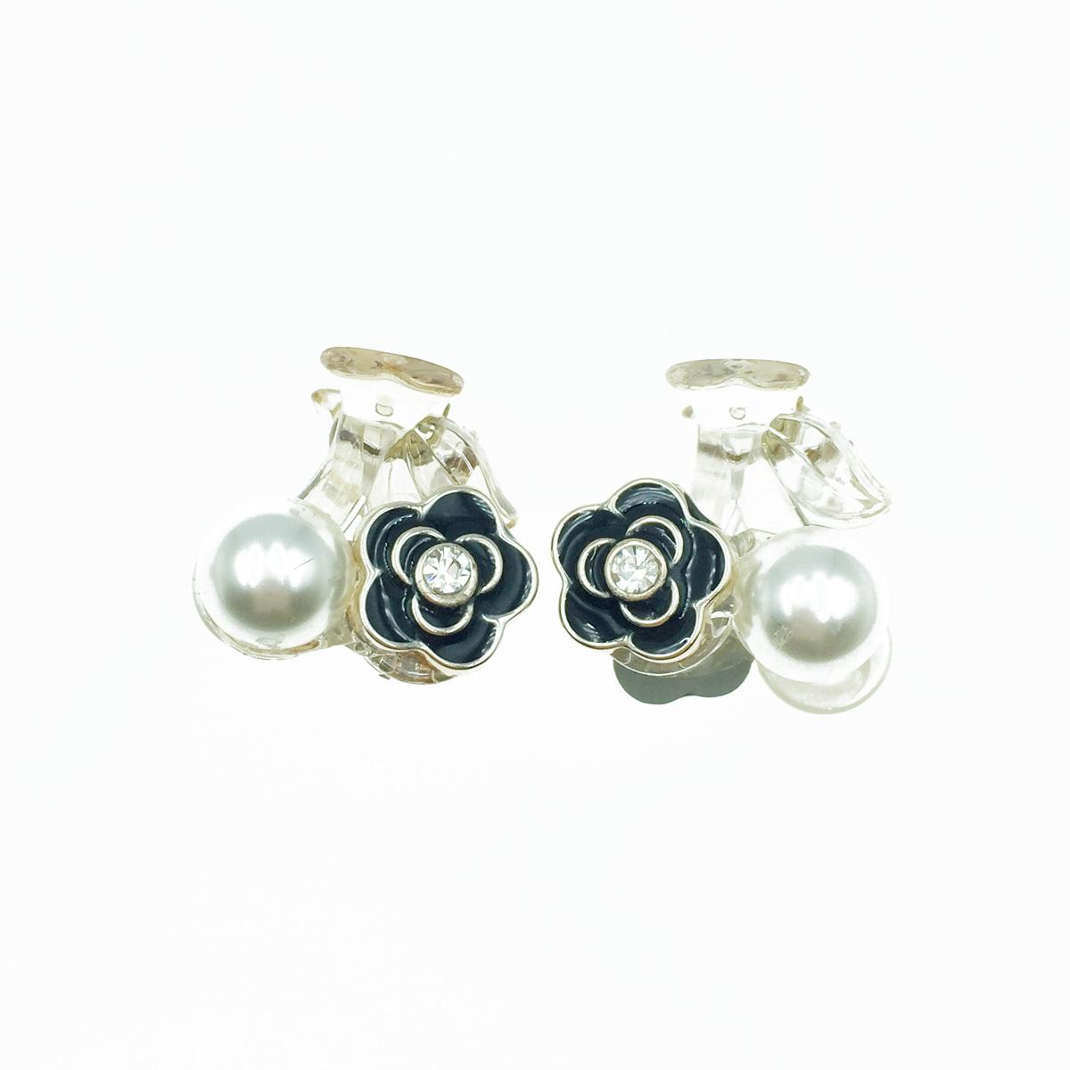 韓國 山茶花 小香風 珍珠 水鑽 透明感 兩入組 髮飾 瀏海夾 小爪夾 髮夾