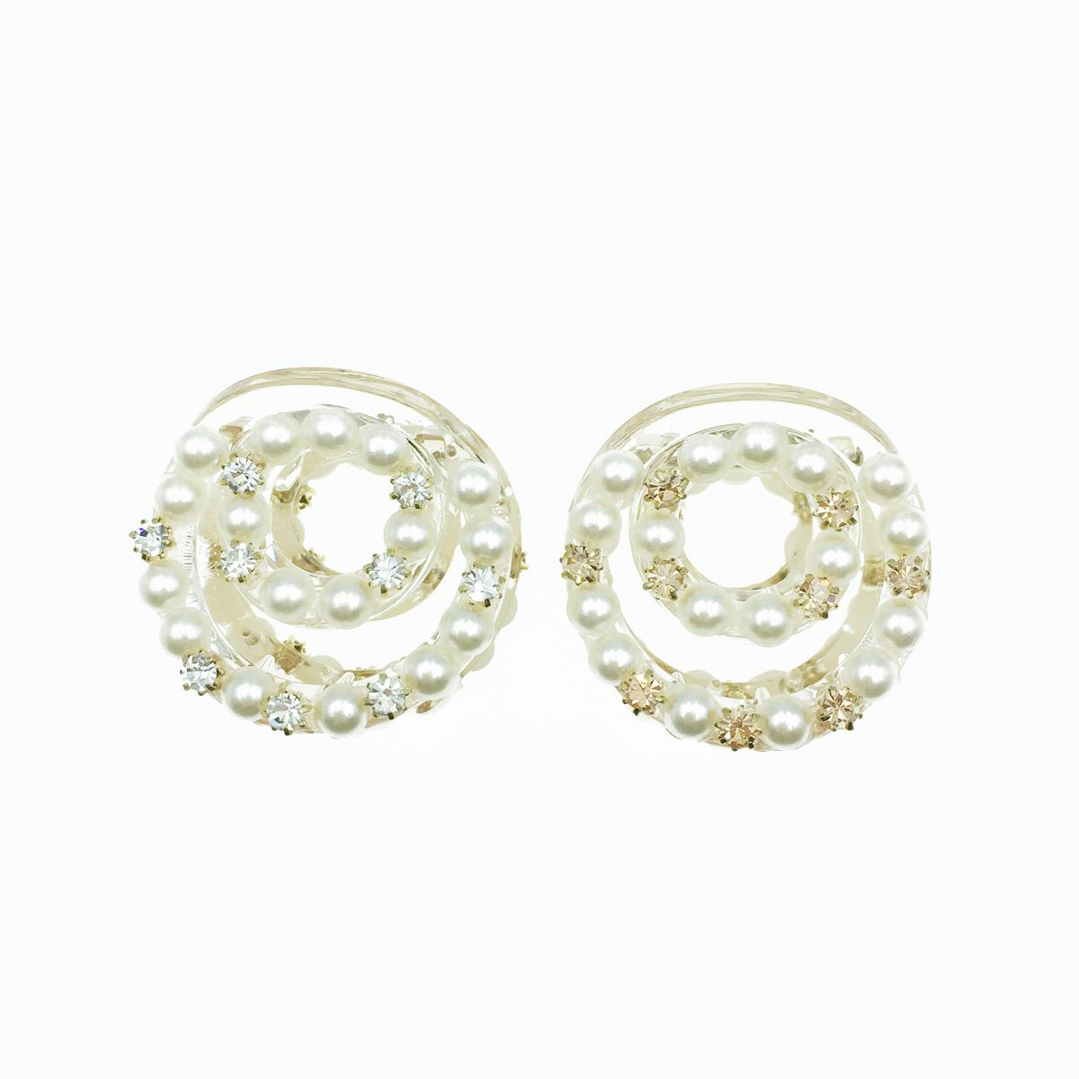 韓國 珍珠 水鑽 同心圓 簍空 透明感 2色 髮飾 爪夾 髮夾