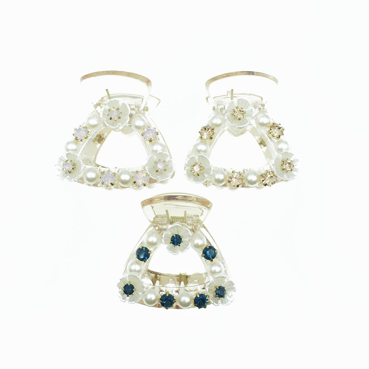 韓國 簍空 三角形 花 水鑽 珍珠 透明感 3色 髮飾 爪夾 髮夾