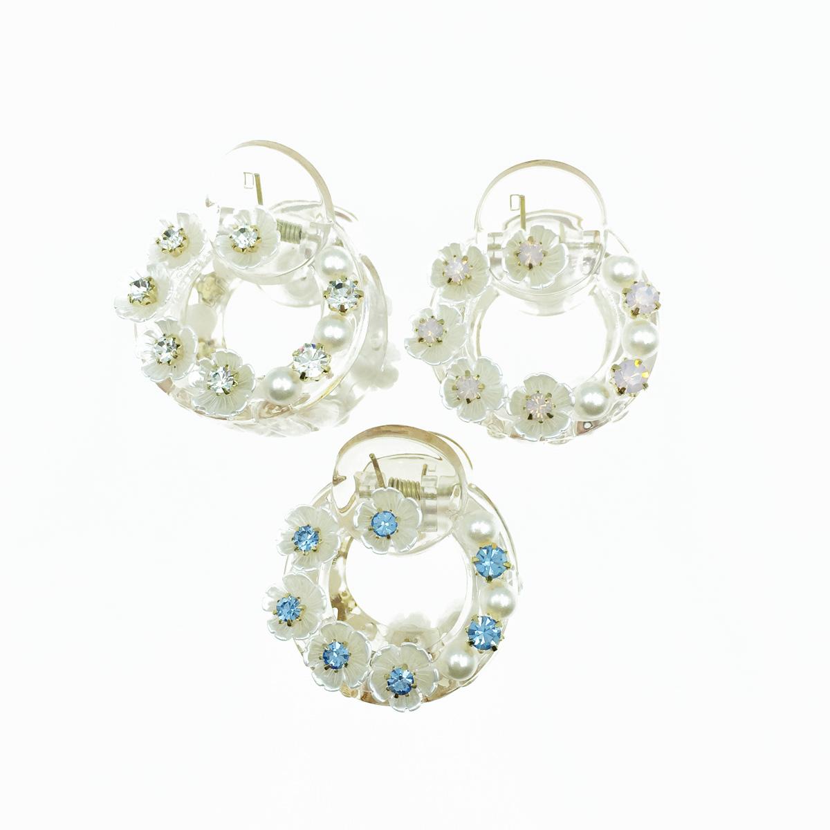 韓國 珍珠花 水鑽 爪鑽 透明感 3色 髮飾 爪夾 髮夾