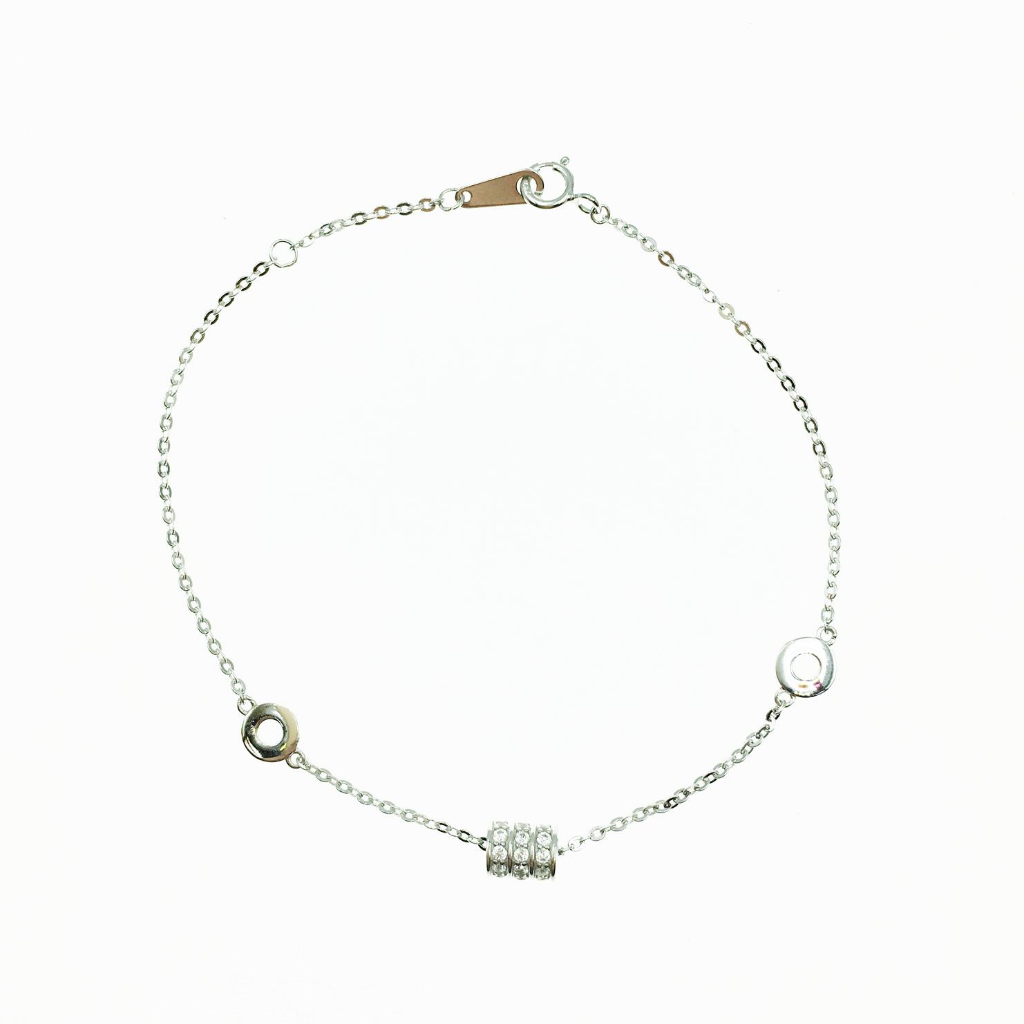 韓國 925純銀 簍空圓圈 轉動水鑽 質感 手飾 手鍊