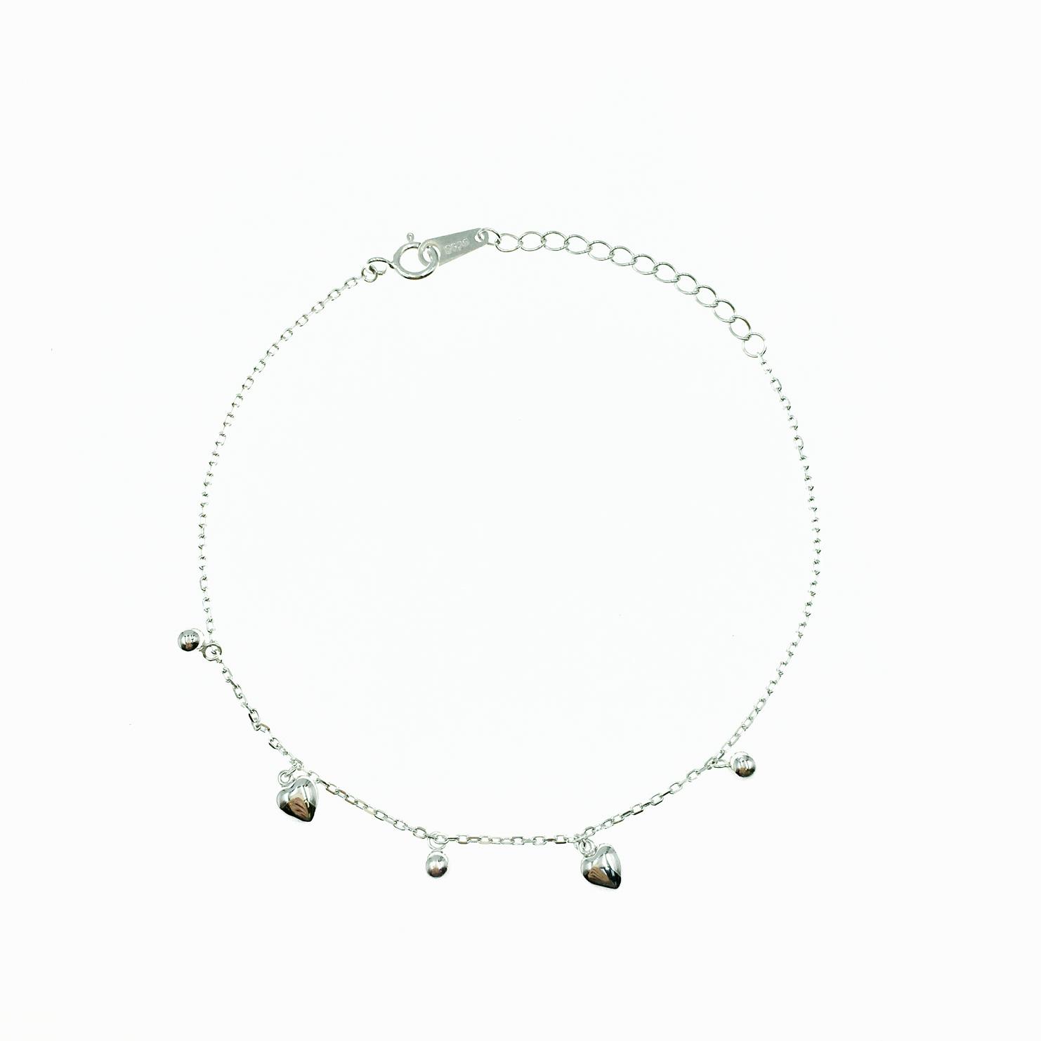 韓國 925純銀 愛心 小銀珠 金屬風 歐美簡約 手飾 手鍊