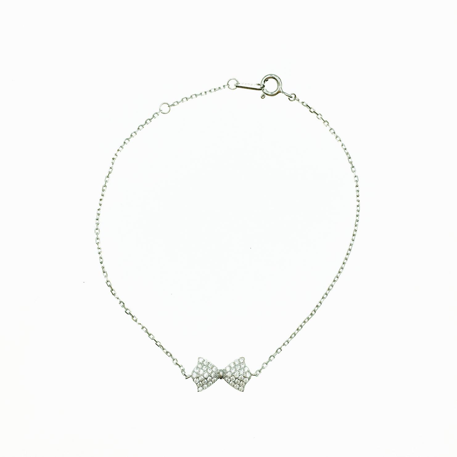 韓國 925純銀 蝴蝶結造型 水鑽 可愛甜美 質感 手飾 手鍊