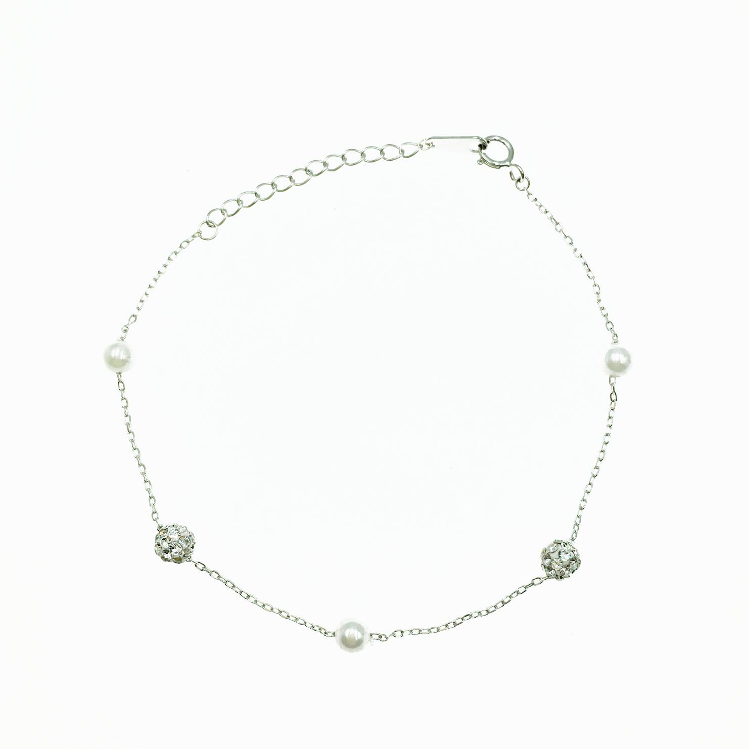 韓國 925純銀 水鑽 立體球形 珍珠 氣質甜美款 質感 手飾 手鍊