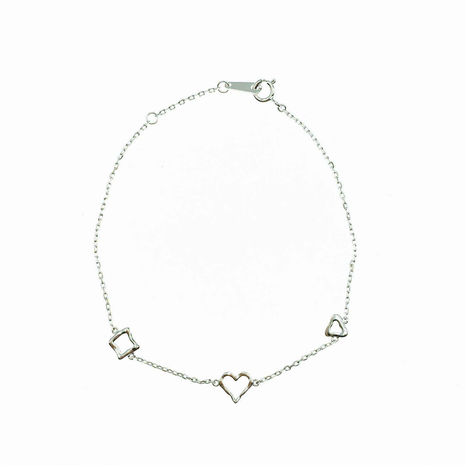 韓國 925純銀 簍空設計 愛心 方形 歐美金屬風 簡約 手飾 手鍊