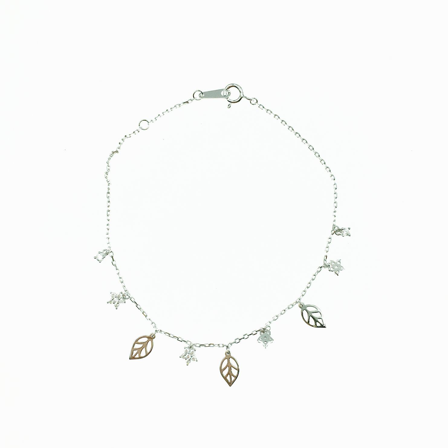 韓國 925純銀 簍空 葉子造型 星星 水鑽 小清新 質感 手飾 手鍊