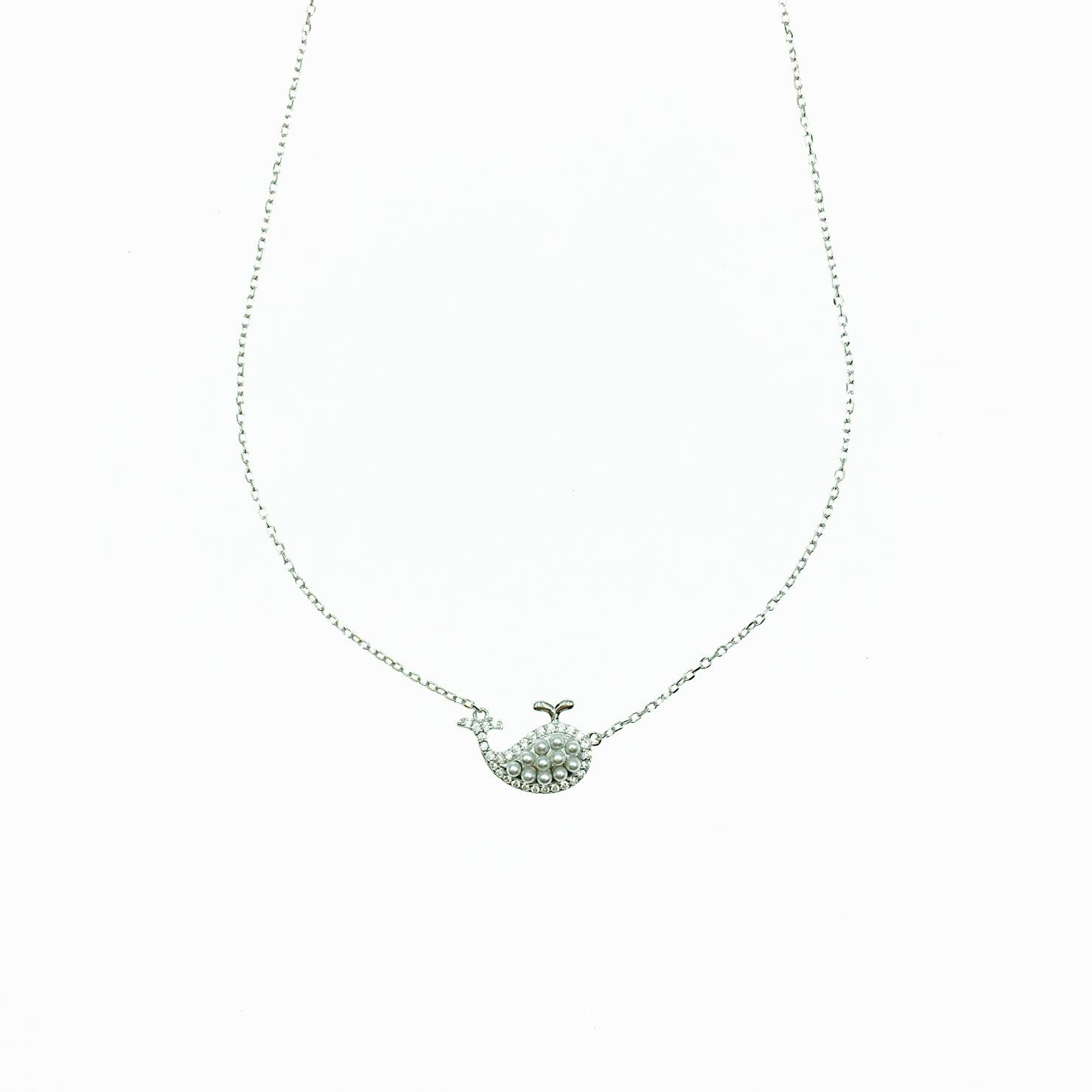 韓國 925純銀 鯨魚造型 水鑽 珍珠 可愛 質感 項鍊