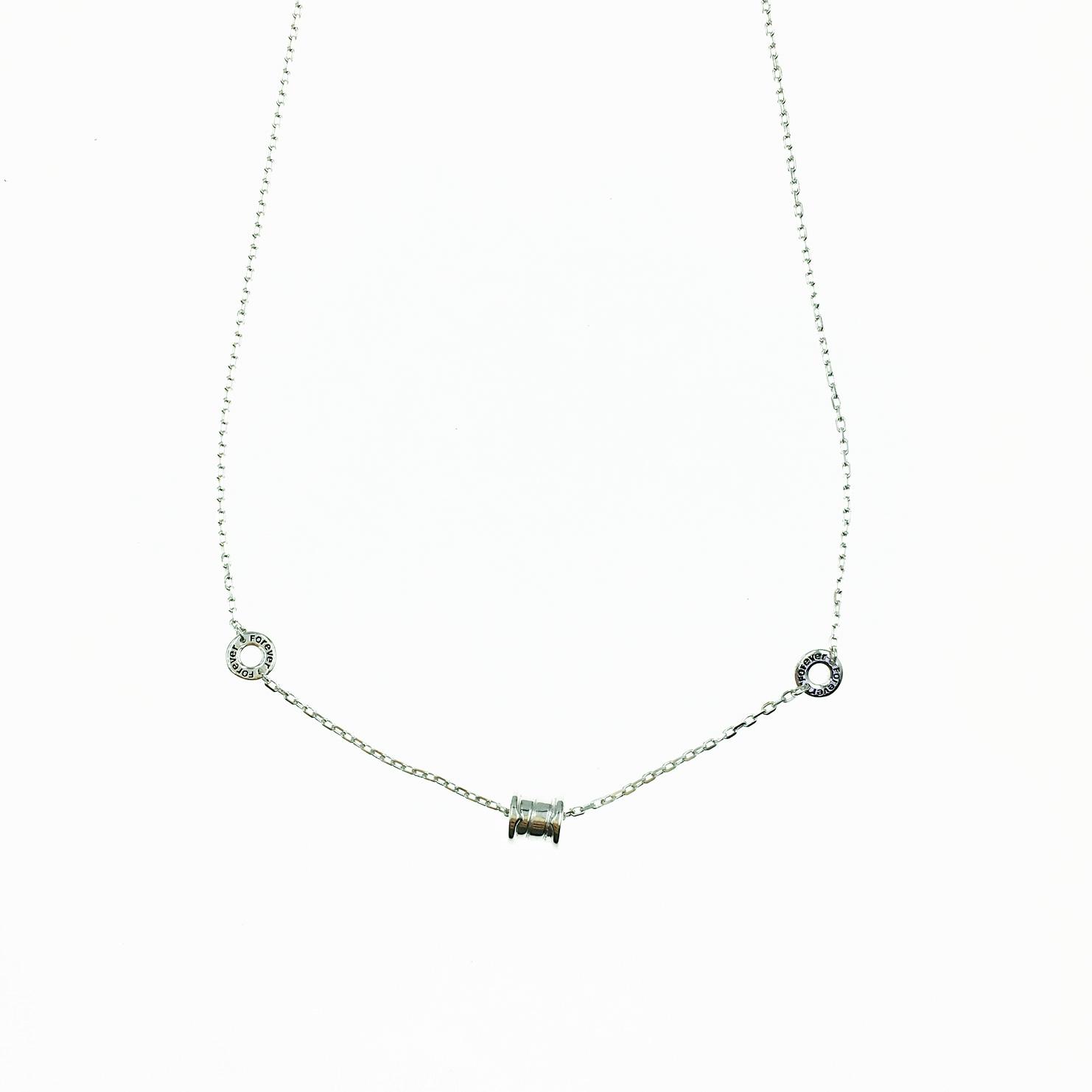 韓國 925純銀 簍空 圓圈 滾輪金屬 歐美金屬風 項鍊