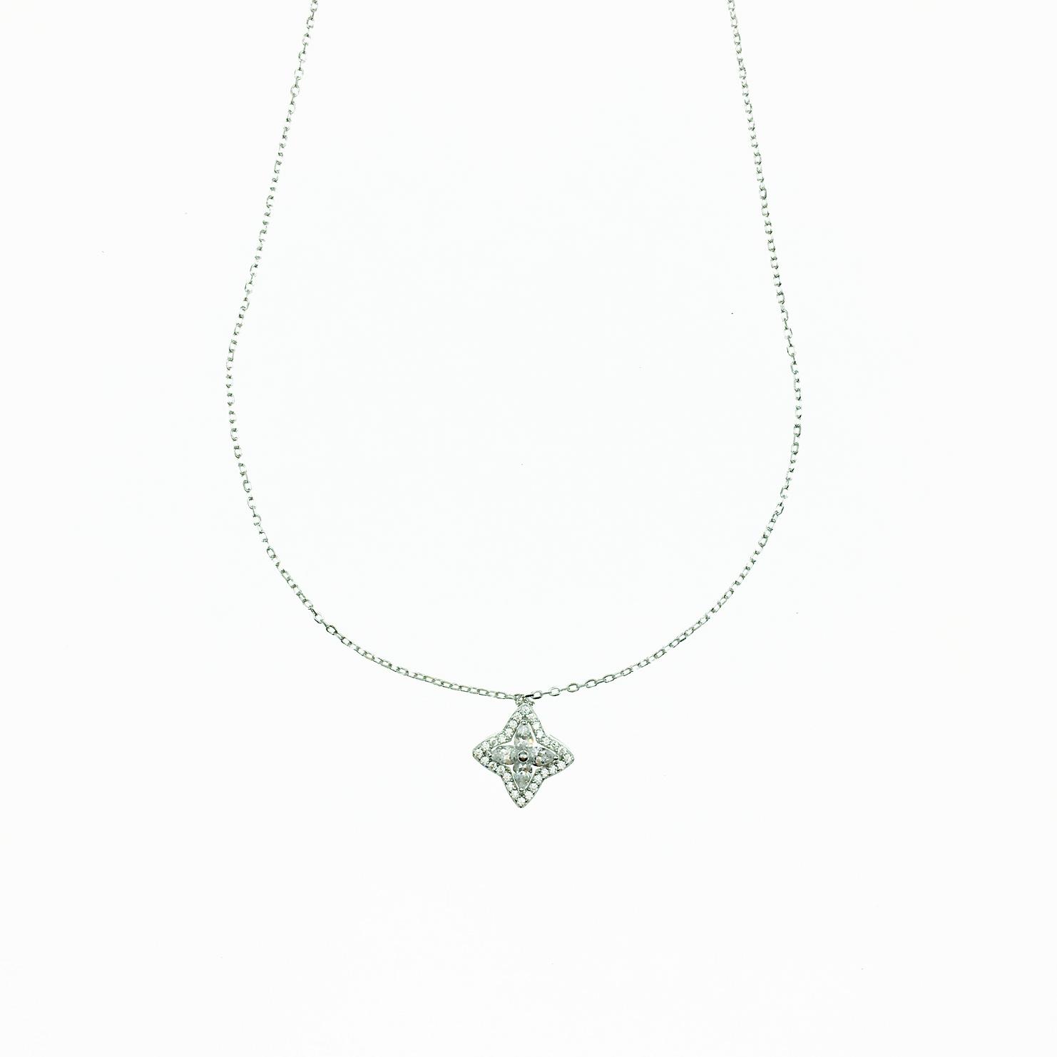 韓國 925純銀 十字花造型 水鑽 氣質 質感 項鍊