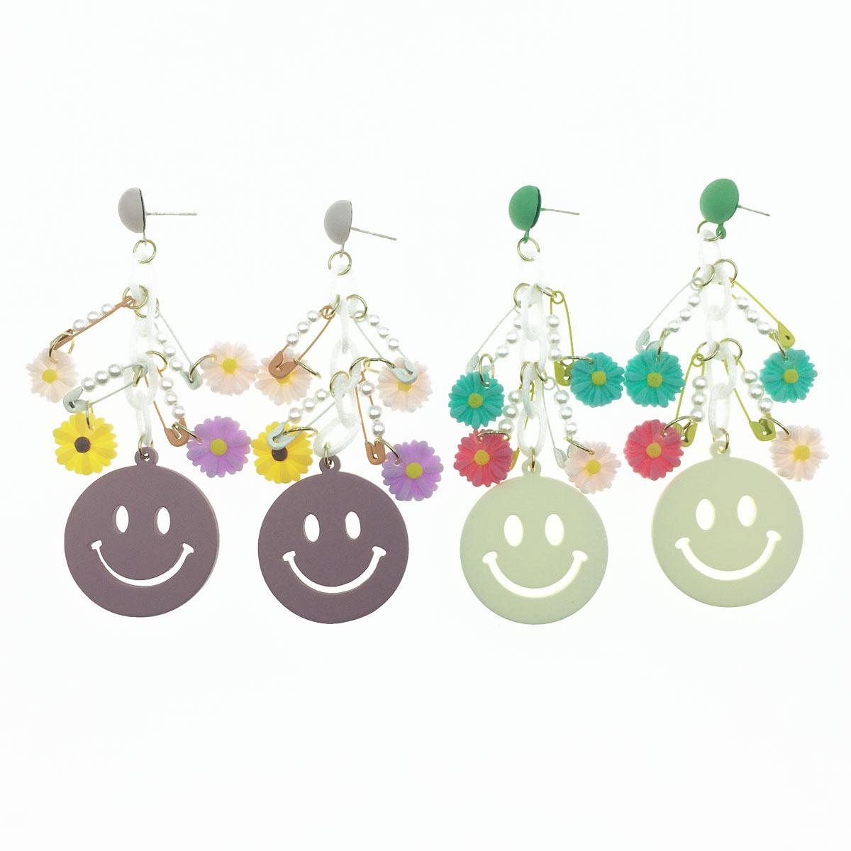 韓國 925純銀 微笑 別針 花朵 珍珠 鍊子 可愛 垂墜感 耳針式耳環