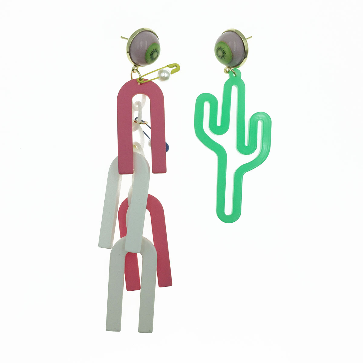 韓國 925純銀 奇異果 磁鐵造型 仙人掌 可愛 垂墜感 耳針式耳環