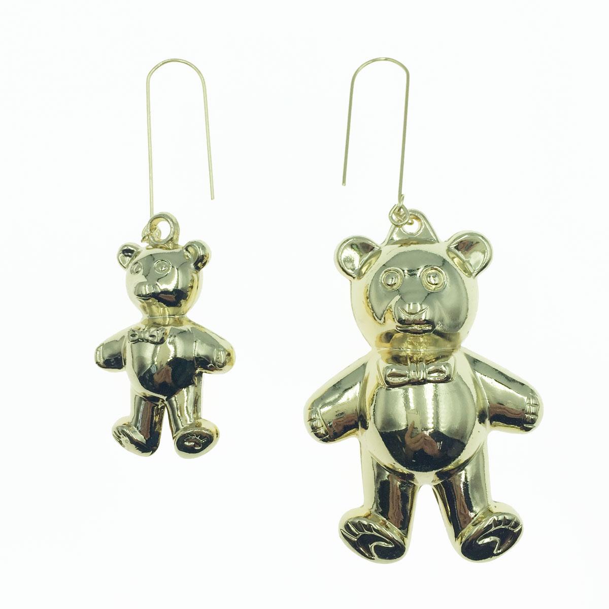 韓國 925純銀 小熊 金色 大小 可愛 垂墜感 耳針式耳環