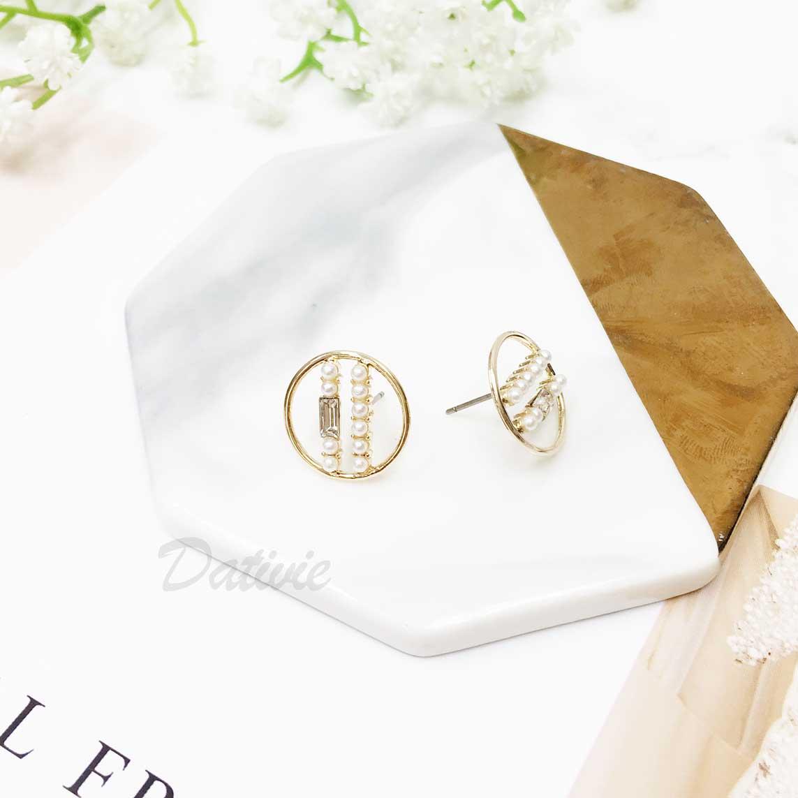 韓國 925純銀 圓形 珍珠 長鑽 垂墜感 耳針式耳環