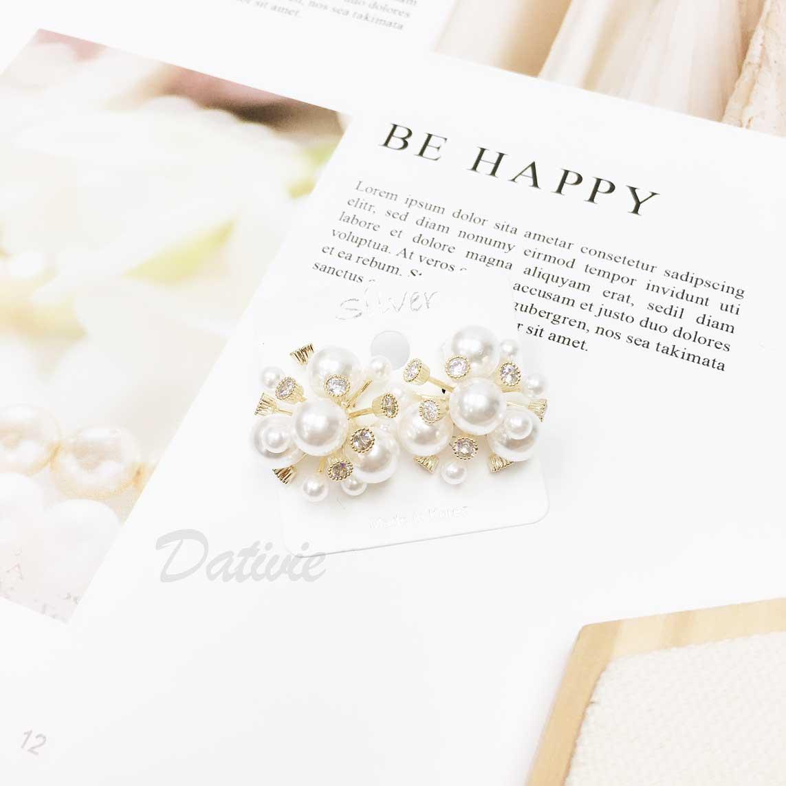 韓國 925純銀 圓形 珍珠 鑽 放射狀 耳針式耳環