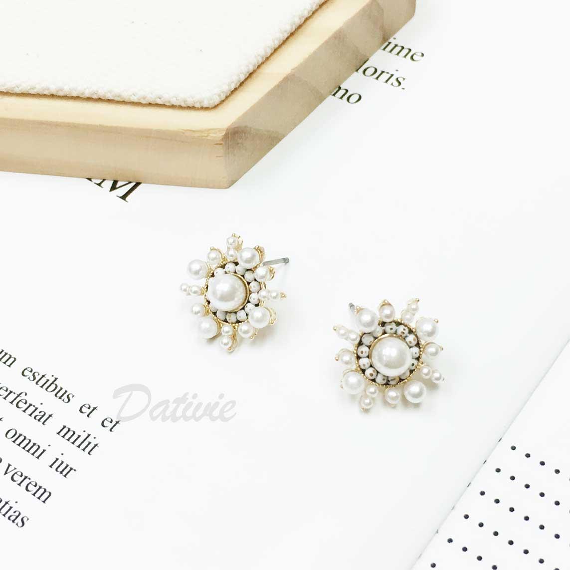 韓國 925純銀 圓形 珍珠 珠珠 太陽 耳針式耳環